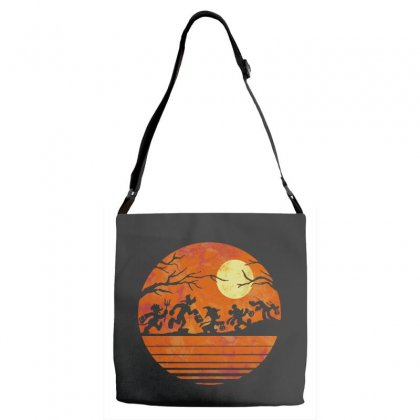 Funny Halloween Walk Under The Moon   Funny Mickey Mouse And Friends T Adjustable Strap Totes Designed By Pinkanzee