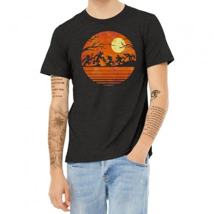 Funny Halloween Walk Under The Moon   Funny Mickey Mouse And Friends T Heather T-shirt Designed By Pinkanzee