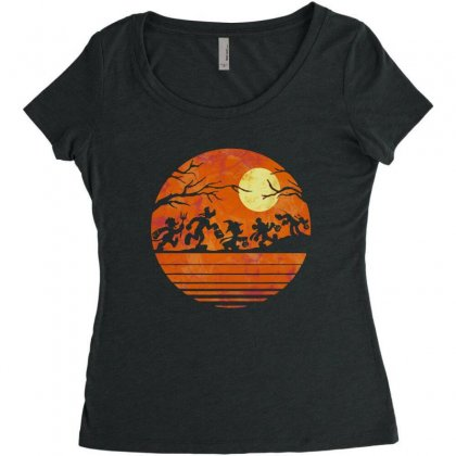 Funny Halloween Walk Under The Moon   Funny Mickey Mouse And Friends T Women's Triblend Scoop T-shirt Designed By Pinkanzee