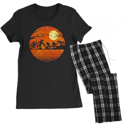 Funny Halloween Walk Under The Moon   Funny Mickey Mouse And Friends T Women's Pajamas Set Designed By Pinkanzee