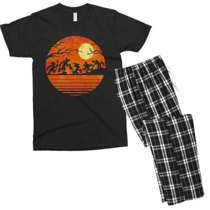 Funny Halloween Walk Under The Moon   Funny Mickey Mouse And Friends T Men's T-shirt Pajama Set Designed By Pinkanzee