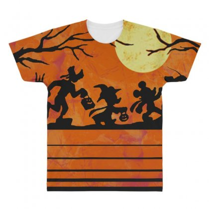 Funny Halloween Walk Under The Moon   Funny Mickey Mouse And Friends T All Over Men's T-shirt Designed By Pinkanzee