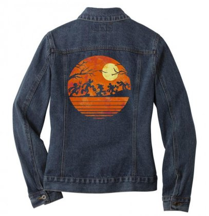 Funny Halloween Walk Under The Moon   Funny Mickey Mouse And Friends T Ladies Denim Jacket Designed By Pinkanzee