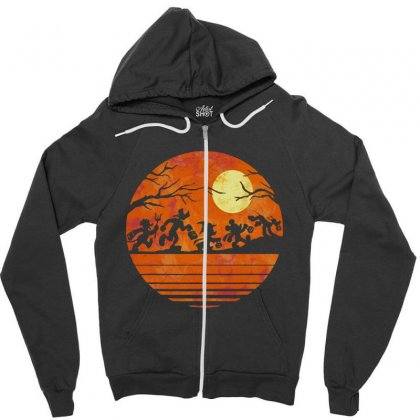 Funny Halloween Walk Under The Moon   Funny Mickey Mouse And Friends T Zipper Hoodie Designed By Pinkanzee