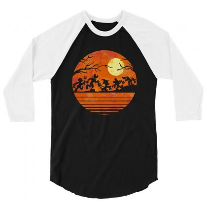 Funny Halloween Walk Under The Moon   Funny Mickey Mouse And Friends T 3/4 Sleeve Shirt Designed By Pinkanzee