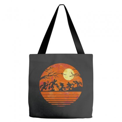 Funny Halloween Walk Under The Moon   Funny Mickey Mouse And Friends T Tote Bags Designed By Pinkanzee