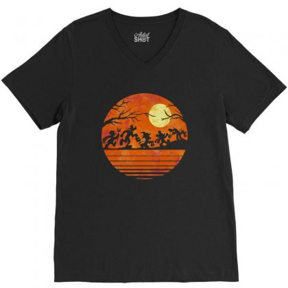 Funny Halloween Walk Under The Moon   Funny Mickey Mouse And Friends T V-neck Tee Designed By Pinkanzee