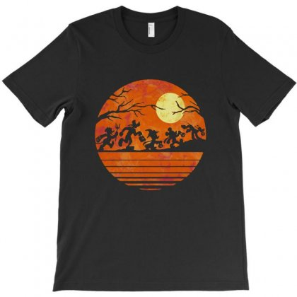 Funny Halloween Walk Under The Moon   Funny Mickey Mouse And Friends T T-shirt Designed By Pinkanzee