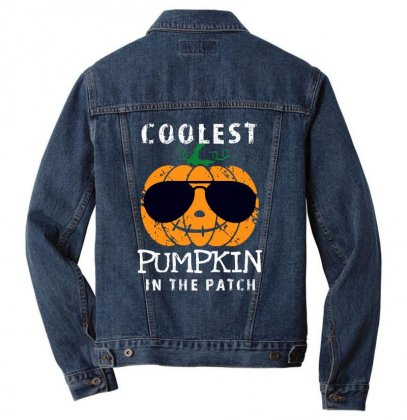 Funny Halloween Coolest Pumpkin In The Patch Men Denim Jacket Designed By Pinkanzee