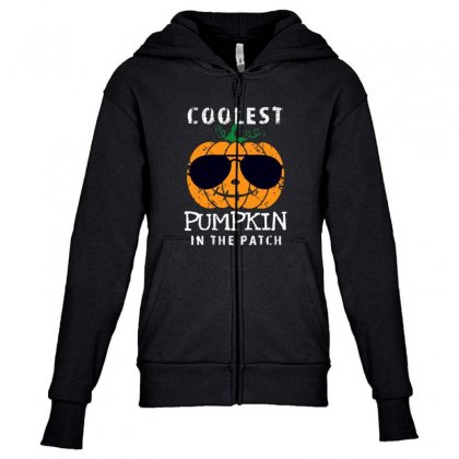 Funny Halloween Coolest Pumpkin In The Patch Youth Zipper Hoodie Designed By Pinkanzee