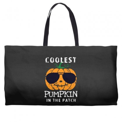 Funny Halloween Coolest Pumpkin In The Patch Weekender Totes Designed By Pinkanzee