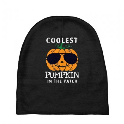 Funny Halloween Coolest Pumpkin In The Patch Baby Beanies Designed By Pinkanzee