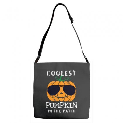Funny Halloween Coolest Pumpkin In The Patch Adjustable Strap Totes Designed By Pinkanzee
