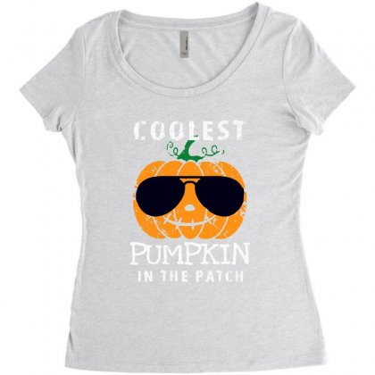 Funny Halloween Coolest Pumpkin In The Patch Women's Triblend Scoop T-shirt Designed By Pinkanzee