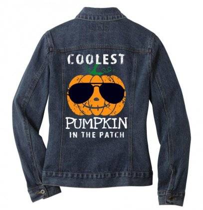 Funny Halloween Coolest Pumpkin In The Patch Ladies Denim Jacket Designed By Pinkanzee