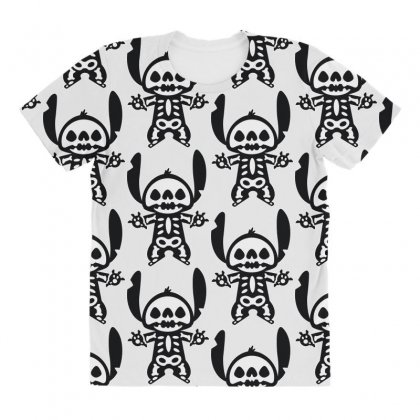 Funny Disney Stitch Halloween Skeleton All Over Women's T-shirt Designed By Pinkanzee