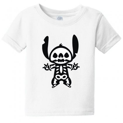 Funny Disney Stitch Halloween Skeleton Baby Tee Designed By Pinkanzee