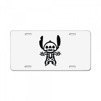 Funny Disney Stitch Halloween Skeleton License Plate Designed By Pinkanzee