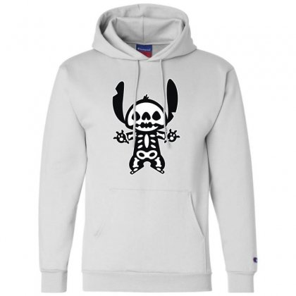 Funny Disney Stitch Halloween Skeleton Champion Hoodie Designed By Pinkanzee
