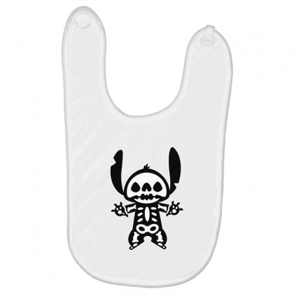 Funny Disney Stitch Halloween Skeleton Baby Bibs Designed By Pinkanzee