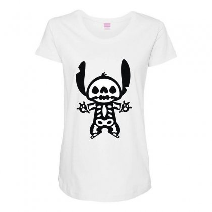 Funny Disney Stitch Halloween Skeleton Maternity Scoop Neck T-shirt Designed By Pinkanzee