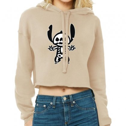 Funny Disney Stitch Halloween Skeleton Cropped Hoodie Designed By Pinkanzee