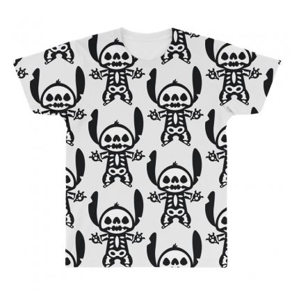 Funny Disney Stitch Halloween Skeleton All Over Men's T-shirt Designed By Pinkanzee