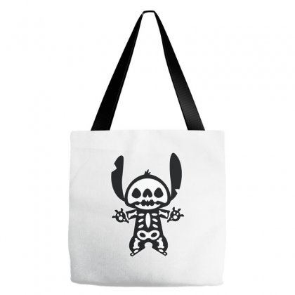 Funny Disney Stitch Halloween Skeleton Tote Bags Designed By Pinkanzee