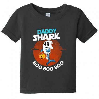 Funny Daddy Shark Boo Boo Boo Shark Ghost Halloween For Dark Baby Tee Designed By Pinkanzee