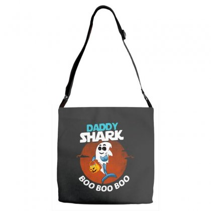 Funny Daddy Shark Boo Boo Boo Shark Ghost Halloween For Dark Adjustable Strap Totes Designed By Pinkanzee