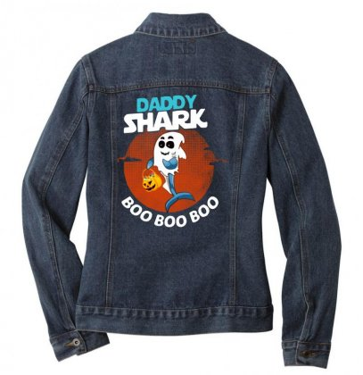 Funny Daddy Shark Boo Boo Boo Shark Ghost Halloween For Dark Ladies Denim Jacket Designed By Pinkanzee