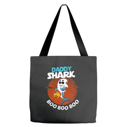 Funny Daddy Shark Boo Boo Boo Shark Ghost Halloween For Dark Tote Bags Designed By Pinkanzee