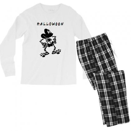 Funny  Mickey Mouse Skeleton Halloween For Light Men's Long Sleeve Pajama Set Designed By Pinkanzee