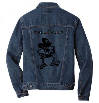 Funny  Mickey Mouse Skeleton Halloween For Light Men Denim Jacket Designed By Pinkanzee