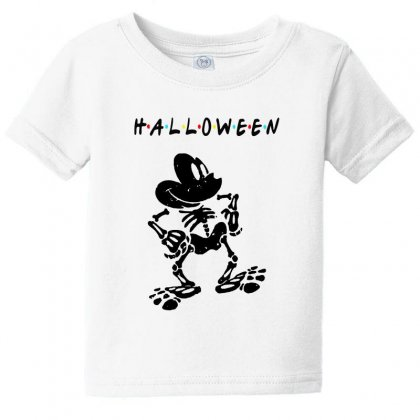 Funny  Mickey Mouse Skeleton Halloween For Light Baby Tee Designed By Pinkanzee