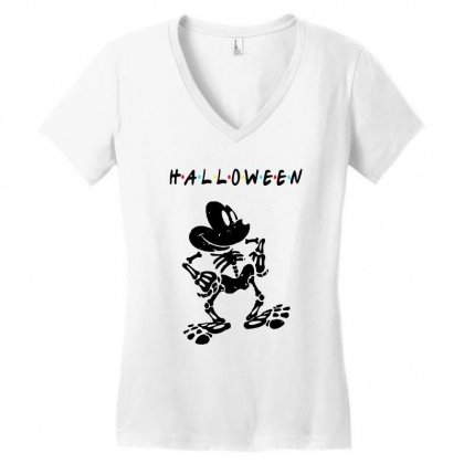 Funny  Mickey Mouse Skeleton Halloween For Light Women's V-neck T-shirt Designed By Pinkanzee