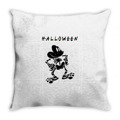 Funny  Mickey Mouse Skeleton Halloween For Light Throw Pillow Designed By Pinkanzee