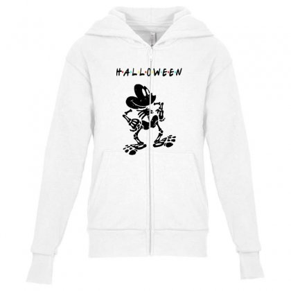Funny  Mickey Mouse Skeleton Halloween For Light Youth Zipper Hoodie Designed By Pinkanzee