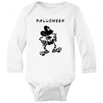 Funny  Mickey Mouse Skeleton Halloween For Light Long Sleeve Baby Bodysuit Designed By Pinkanzee
