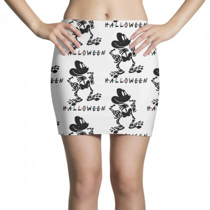 Funny  Mickey Mouse Skeleton Halloween For Light Mini Skirts Designed By Pinkanzee