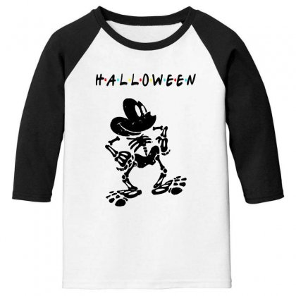 Funny  Mickey Mouse Skeleton Halloween For Light Youth 3/4 Sleeve Designed By Pinkanzee