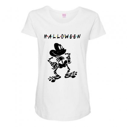Funny  Mickey Mouse Skeleton Halloween For Light Maternity Scoop Neck T-shirt Designed By Pinkanzee