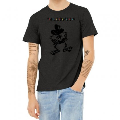 Funny  Mickey Mouse Skeleton Halloween For Light Heather T-shirt Designed By Pinkanzee