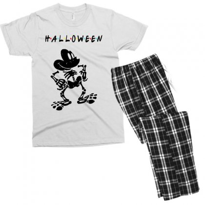 Funny  Mickey Mouse Skeleton Halloween For Light Men's T-shirt Pajama Set Designed By Pinkanzee