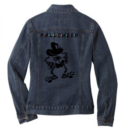Funny  Mickey Mouse Skeleton Halloween For Light Ladies Denim Jacket Designed By Pinkanzee