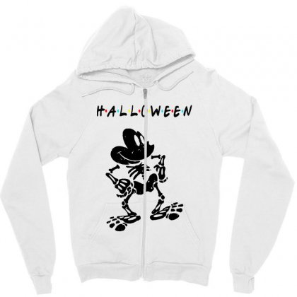 Funny  Mickey Mouse Skeleton Halloween For Light Zipper Hoodie Designed By Pinkanzee