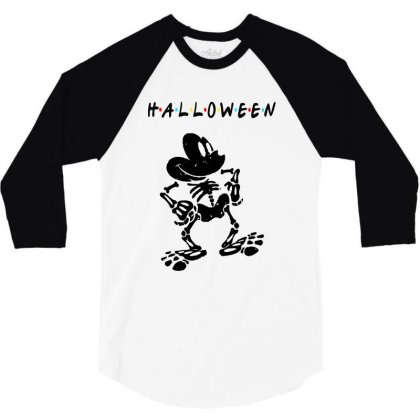 Funny  Mickey Mouse Skeleton Halloween For Light 3/4 Sleeve Shirt Designed By Pinkanzee