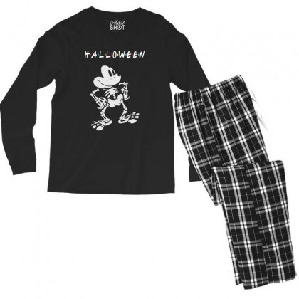 Funny  Mickey Mouse Skeleton Halloween For Dark Men's Long Sleeve Pajama Set Designed By Pinkanzee