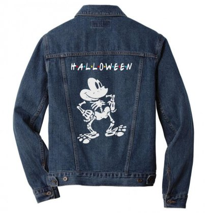 Funny  Mickey Mouse Skeleton Halloween For Dark Men Denim Jacket Designed By Pinkanzee