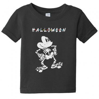 Funny  Mickey Mouse Skeleton Halloween For Dark Baby Tee Designed By Pinkanzee